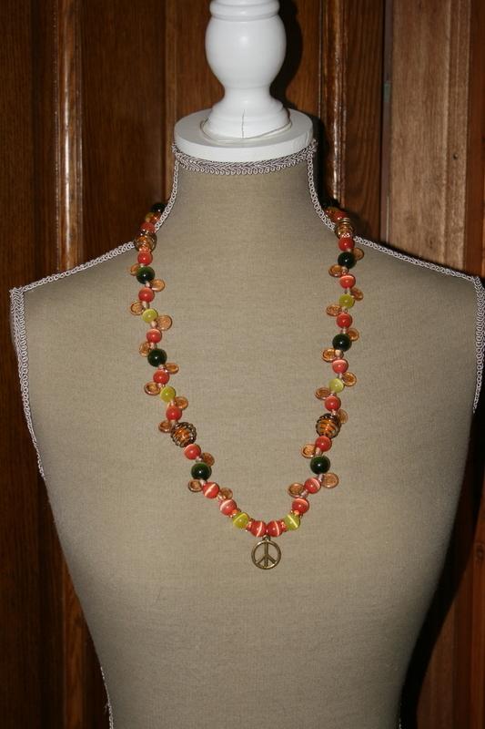 Halsketting met edelsteen (oranje)