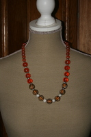 Halsketting met glaskralen (oranje)