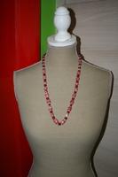 Halsketting met glaskralen en glasparels (rood)