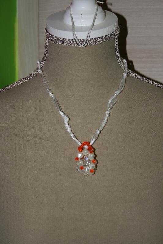 Halsketting met kristal (wit)