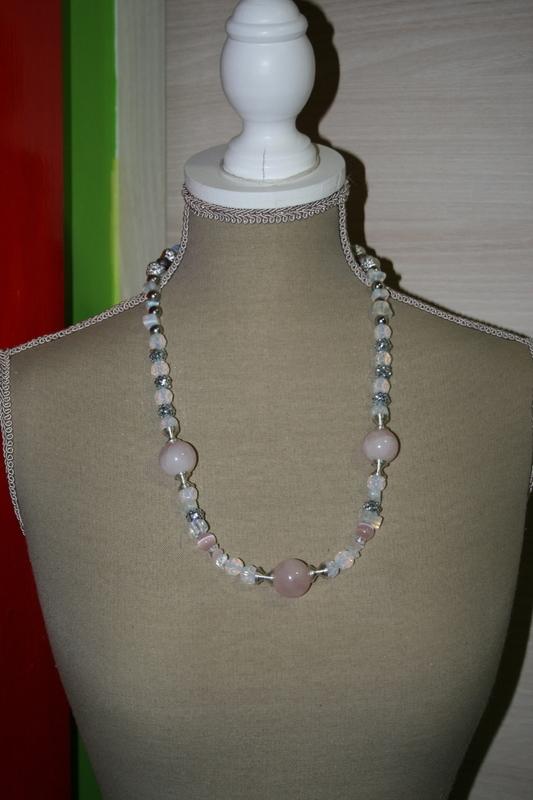 Halsketting met edelsteen (Rozekwarts- Opaal)