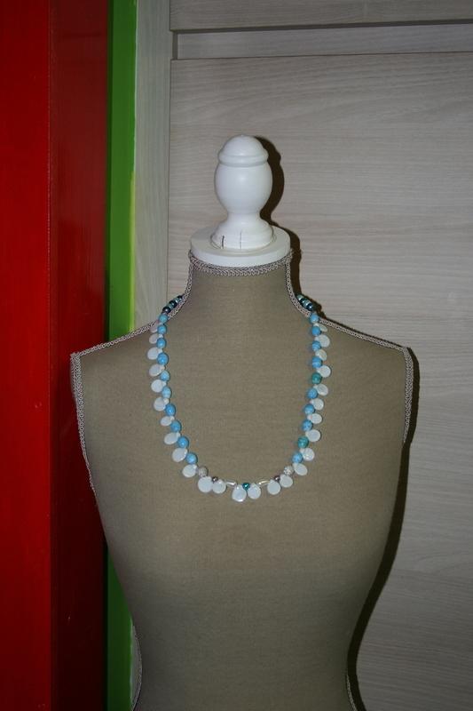 Halsketting Glaskralen (blauw - wit)