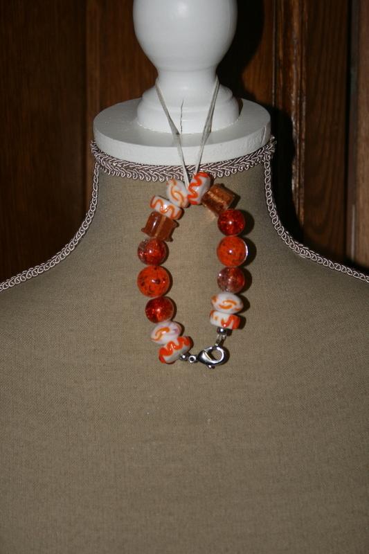 Armband glaskralen (oranje)