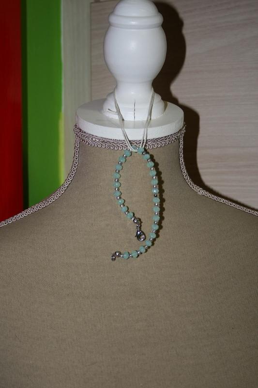 Armband met kristal parels  (blauw)