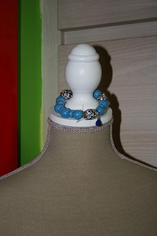 Armband met keramieke kralen (blauw)
