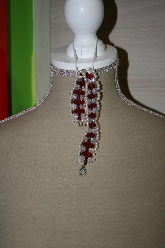 Armband met Kristal (wit en rood)