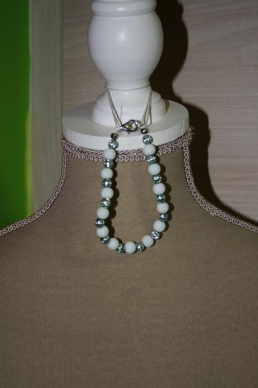 Armband met glaskralen (wit)
