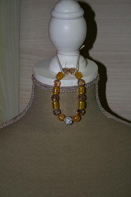 Armband met glaskralen (geel)