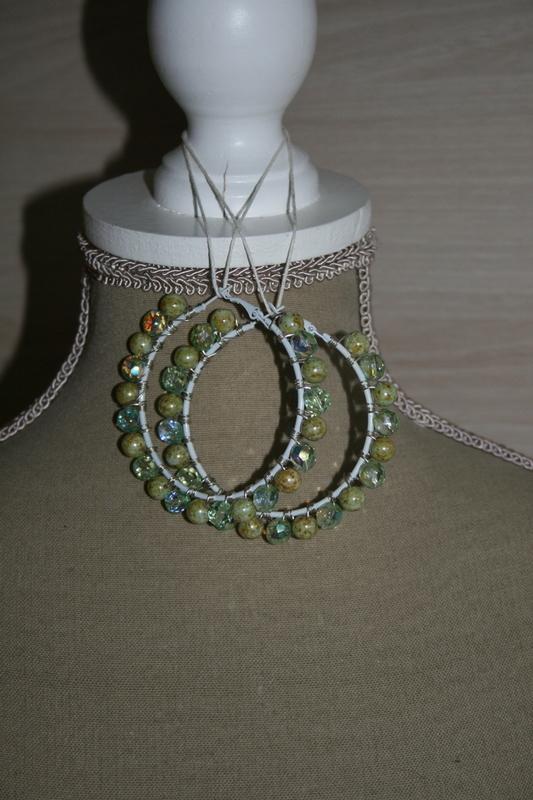 Creolen kristal - glaskralen (op z'n groen)