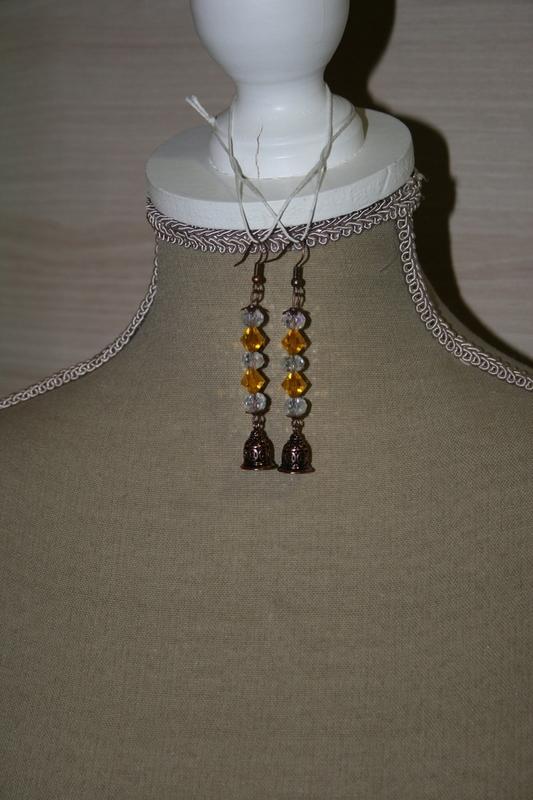 Oorbellen met kristal - swarovski's (geel en wit)