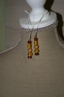Oorbellen met glaskralen (geel)