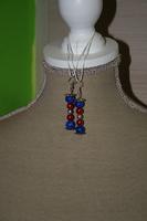 Oorbellen met glasparels - crackel kralen (blauw en rood)