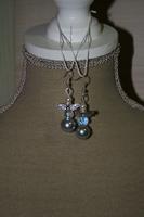 Oorbellen Glasparels en Kristallen (op z'n zilverkleurig)
