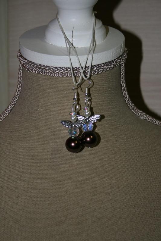 Oorbellen Glasparels en Kristallen (op z'n bronskleurig)