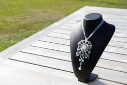 Halsketting: Rozenkwarts, glasparels (Diamond Coated), Facet Swarovski parels, Kristallen parels en Rocaïlles